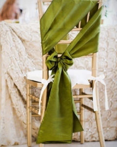 for display only green chair sash - Chair Sash Chivari Gold Chair